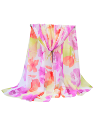 Chiffon Flowers Printed Summer Gossamer Shawl Scarf - LIGHT PURPLE