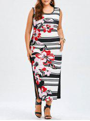 Plus Size Sleeveless Floral and Striped Tank Dress