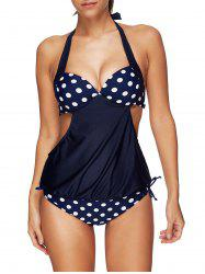 Polka Dot Push Up Backless Halter Blouson Tankini