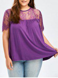 Sheer Tie Back Plus Size Lace Trim T-Shirt