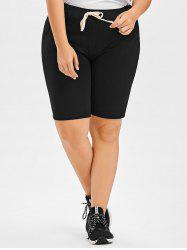 Drawstring Plus Size Jogger Shorts - BLACK