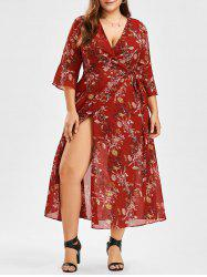 Plus Size Floral Maxi Wrap Dress