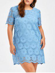 Crochet Plus Size Knee Length Shift Dress