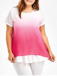 Ruffle Ombre Chiffon Plus Size Tunic Top