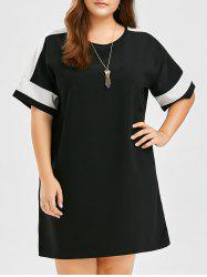 Plus Size Colorblock Dolman Sleeve Tee Dress