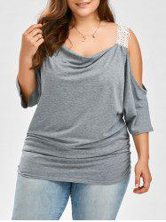 Plus Size Batwing Sleeve Cold Shoulder Top