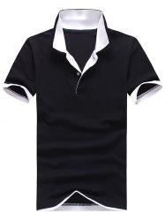 Polo Collar Color Block Panel Short Sleeve T-Shirt