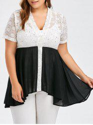 Plus Size Color Block Lace Panel Swing Top