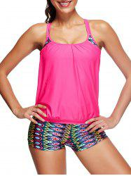 Geometric Boyleg Blouson Tankini Set - PEACH RED