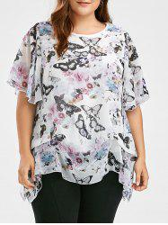 Plus Size Butterfly Printed Chiffon Ruffle Top
