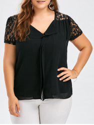 Lace Panel Cuffed Plus Size V Neck Top