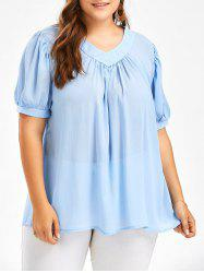 Seimitransparent V Neck Chiffon Plus Size Flowy Top