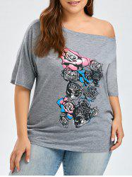 Rose Floral Print Plus Size Skew Neck T-Shirt