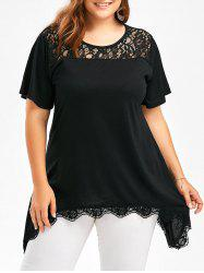 Lace Insert Scalloped Plus Size Tunic T-Shirt