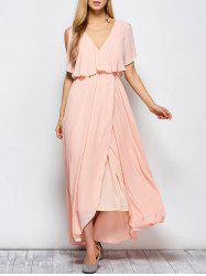 Ruffles Maxi Surplice Wedding Guest Prom Dress - PINK