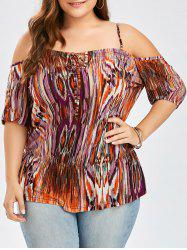 Plus Size Tie Dye Dew Shoulder T-Shirt