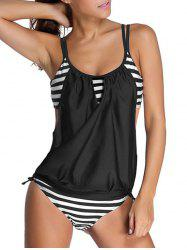 Striped Spaghetti Strap Blouson Tankini Bathing Suits - BLACK XL