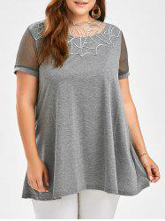 Semi Sheer Voile Insert Plus Size Tunic Top