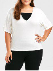 Dolman Sleeve Plus Size Plain T-Shirt