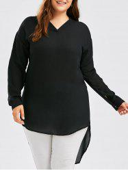 Plus Size High Low Chiffon Blouse