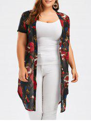 Plus Size Floral See Through Top