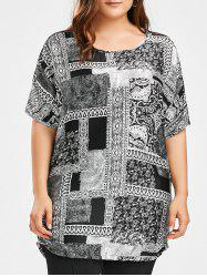 Plus Size Crew Neck Print Top