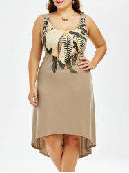 Plus Size High Low Hem Sleeveless Dress - KHAKI