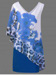 Floral and Leopard V Neck Capelet Overlay Dress