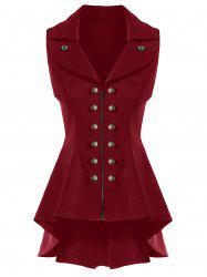 Double Breast High Low Lapel Dressy Waistcoat - CLARET M