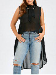Plus Size Semi Sheer Chiffon High Low  Pussy Bow Top