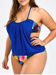 Tropical Pineapple Plus Size Halter Tankini Swimsuits - BLUE