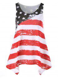 Distressed American Flag Asymmetrical Tank Top - COLORMIX L