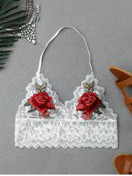 Flower Embroidery Scalloped Halter Lace Crop Top