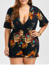 Plus Size Floral Chiffon Romper - PURPLISH BLUE