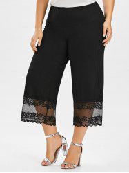 Plus Size Lace Trim Wide Leg Pants - BLACK
