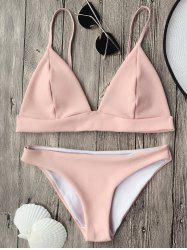 Cami Plunge Bikini Top and Bottoms -