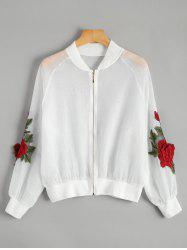 Floral Embroidered Zip Up Jacket - WHITE