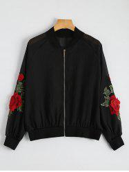 Floral Embroidered Zip Up Jacket - BLACK
