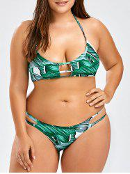 Halter Tropical Plus Size Bikini Set