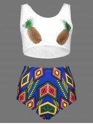 Pineapple Print Plus Size Cute High Waisted Bottom Bikini -