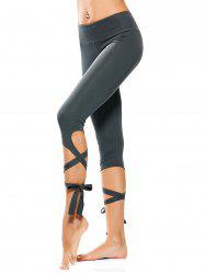 Wrap Hem Cropped Yoga Pants -