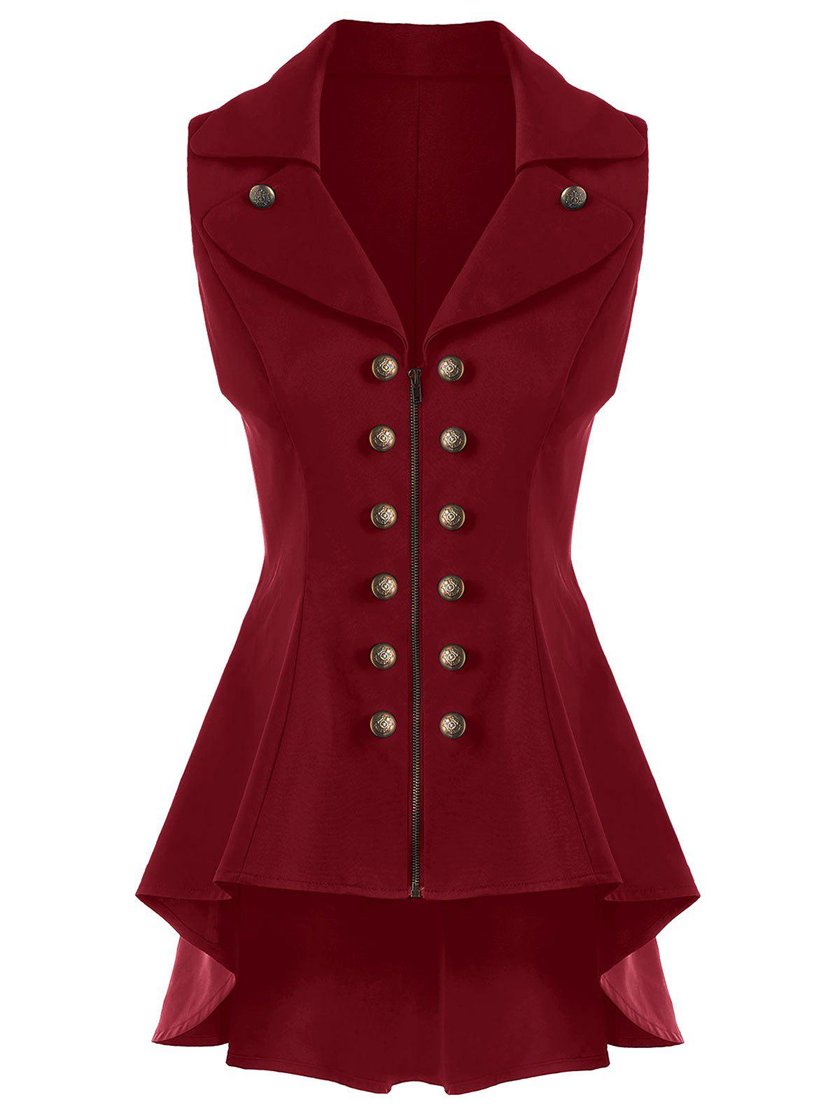 Double Breast High Low Lapel Dressy WaistcoatWOMEN<br><br>Size: M; Color: CLARET; Material: Cotton,Cotton Blends,Polyester; Shirt Length: Long; Collar: Lapel; Closure Type: Zipper; Pattern Type: Solid; Thickness: Standard; Style: Fashion; Season: Spring,Summer; Embellishment: Button; Weight: 0.5500kg; Package Contents: 1 x Waistcoat;