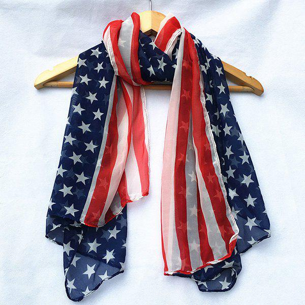 Patriotic American Flag Element Chiffon Shawl ScarfACCESSORIES<br><br>Color: RED; Scarf Type: Scarf; Group: Adult; Gender: For Women; Style: Fashion; Material: Polyester; Pattern Type: Print; Season: Fall,Spring,Summer,Winter; Scarf Length: 150CM; Scarf Width (CM): 70CM; Weight: 0.0800kg; Package Contents: 1 x Scarf;