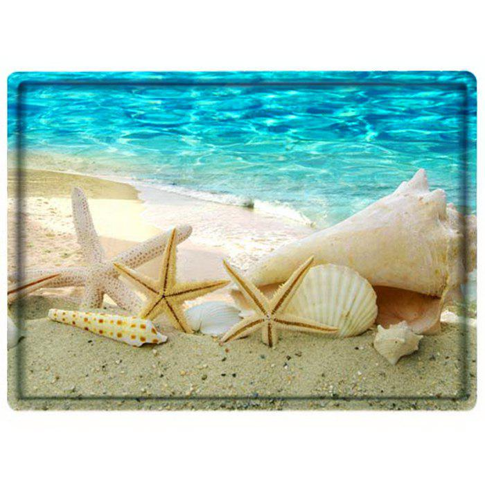 Beach Conch Starfish Water Absorbing Bathroom Floor MatHOME<br><br>Color: BLUE; Products Type: Bath Mats; Materials: Polyester,Sponge; Style: Beach Style; Shape: Rectangle; Size: 60*40cm; Weight: 0.4800kg; Package Contents: 1 x Mat;