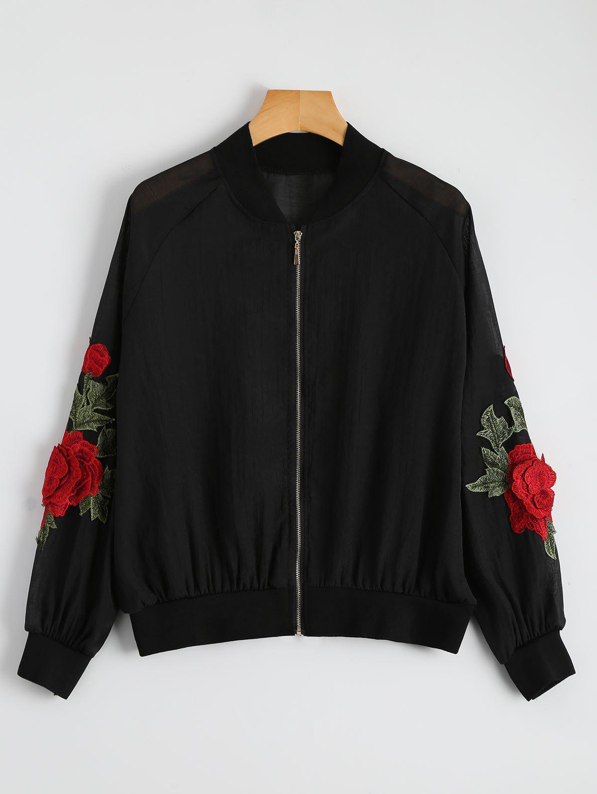 Latest Floral Embroidered Zip Up Jacket