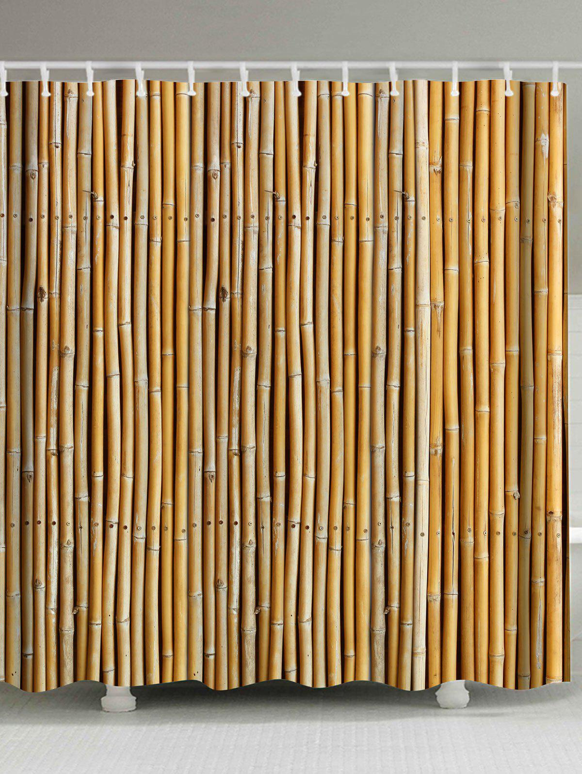 2018 Extra Long Bamboo Print Shower Curtain In Earthy W71