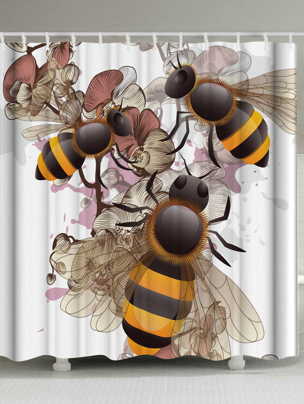 Affordable Unique Floral Bee Shower Curtain With Hooks