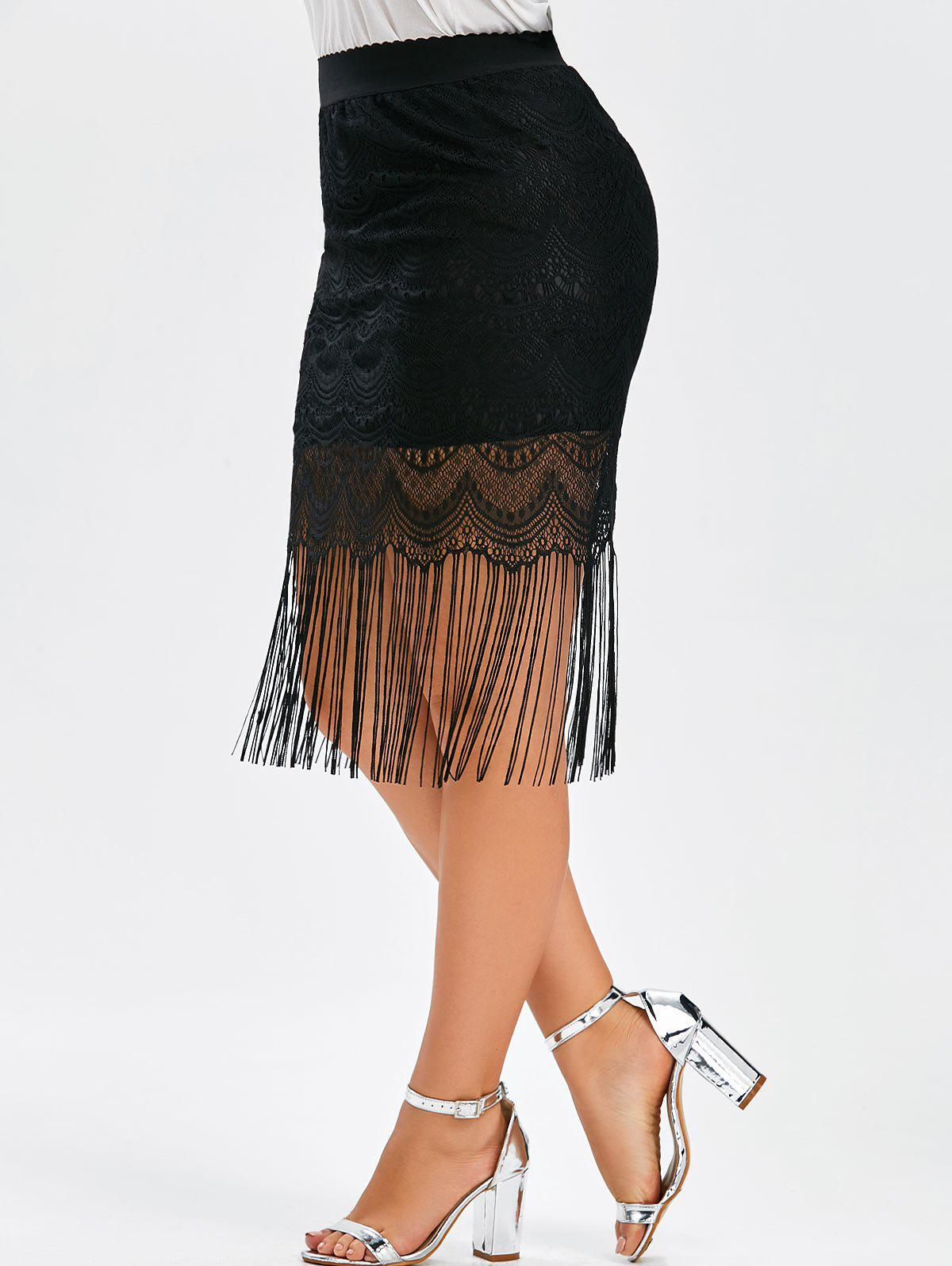 Plus Size Fringe Lace SkirtWOMEN<br><br>Size: 4XL; Color: BLACK; Material: Polyester; Length: Mid-Calf; Silhouette: A-Line; Pattern Type: Solid; Season: Summer; With Belt: No; Weight: 0.2200kg; Package Contents: 1 x Skirt;