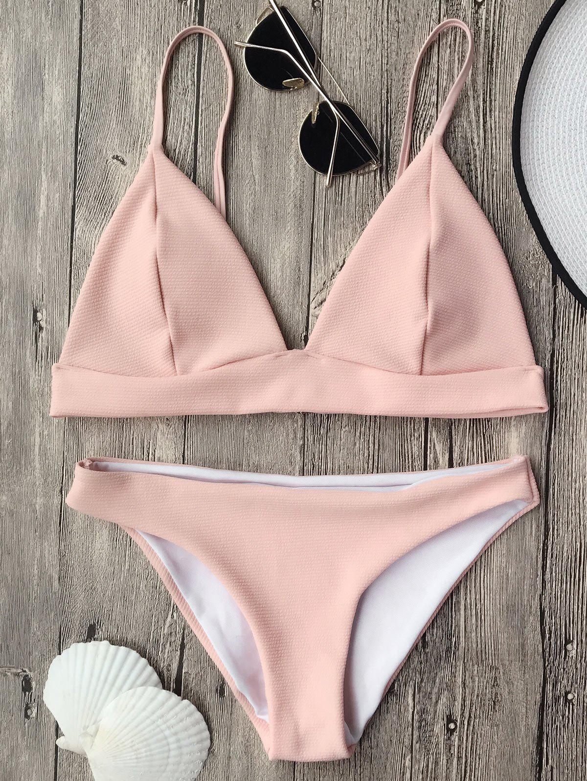 Cami Plunge Bikini Top and BottomsWOMEN<br><br>Size: L; Color: PINK; Swimwear Type: Bikini; Gender: For Women; Material: Polyester,Spandex; Bra Style: Padded; Support Type: Wire Free; Neckline: Spaghetti Straps; Pattern Type: Solid; Waist: Low Waisted; Elasticity: Elastic; Weight: 0.2000kg; Package Contents: 1 x Top  1 x Bottoms;