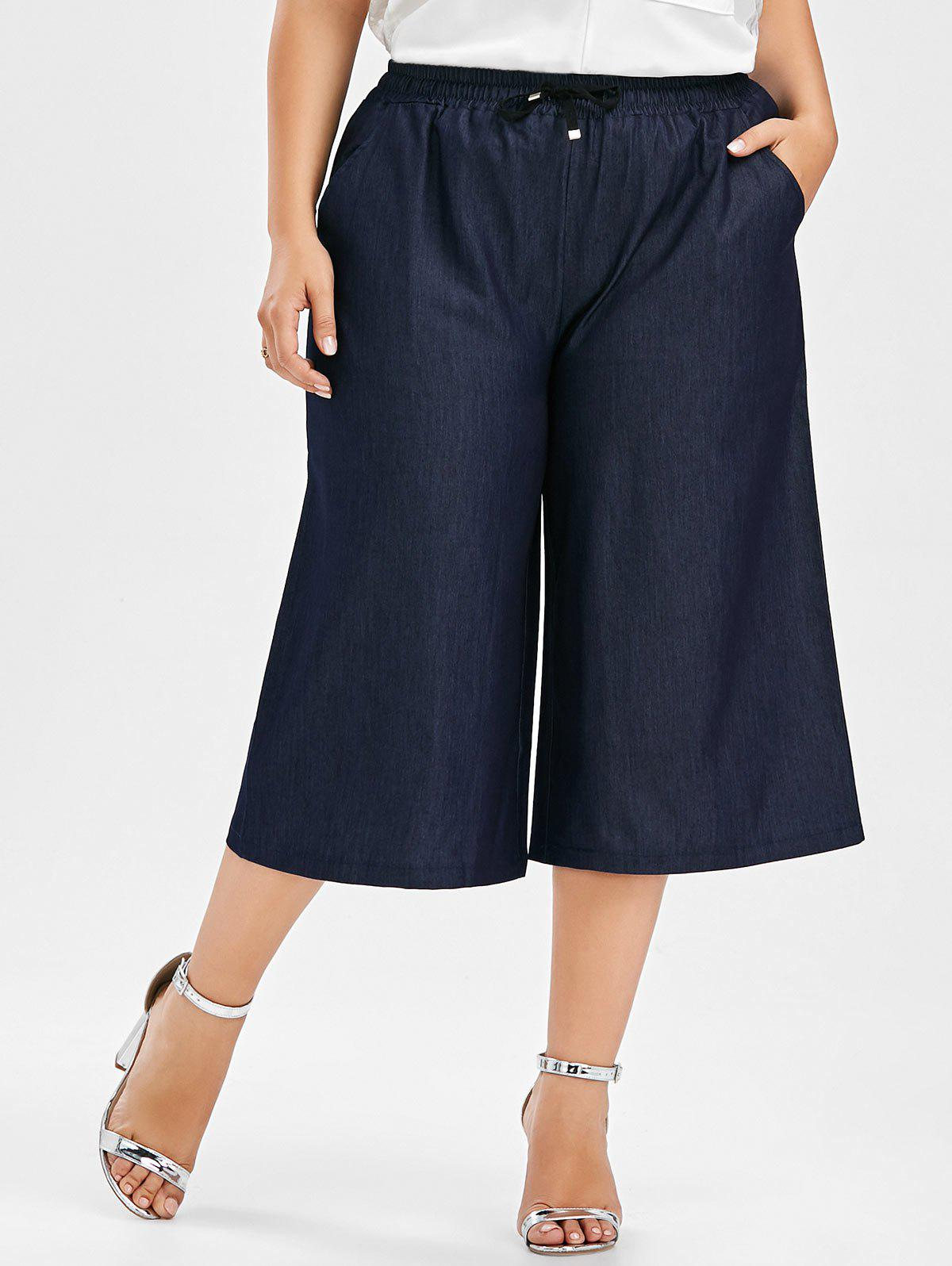 Plus Size Drawstring Wide Leg Crop PantsWOMEN<br><br>Size: 5XL; Color: DEEP BLUE; Style: Casual; Length: Capri; Material: Polyester; Fit Type: Loose; Waist Type: Mid; Closure Type: Drawstring; Pattern Type: Solid; Pant Style: Wide Leg Pants; With Belt: No; Weight: 0.3500kg; Package Contents: 1 x Pants;
